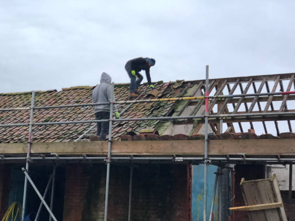 Work Commences roofing the new butchery 2